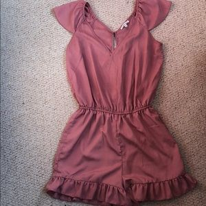 Rose Romper with Ruffle Detail